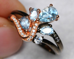 18.94cts Blue Topaz 925 Sterling Silver Ring US8.75