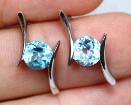 14.66cts Blue Topaz 925 Sterling Silver Earrings