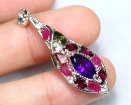 20.08cts Amethyst Ruby Garnet 925 Sterling Silver Pendant