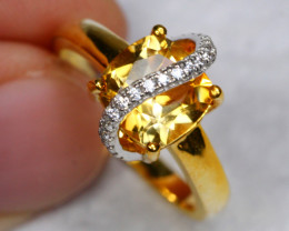 15.66cts Yellow Citrine 925 Sterling Silver Ring US 5.75
