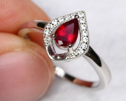 10.21cts Red Ruby 925 Sterling Silver Ring US 6