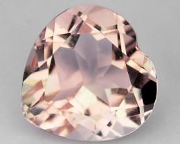 ~BEAUTIFUL~ 1.70 Cts Natural Peach Pink Morganite Heart Cut Brazil