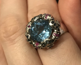 Blue Topaz, Ruby and Blue Sapphire Sterling Silver Ring