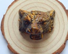 Hand carved tiger animal pendant bead,tiger eyes gemstone ,collection B60