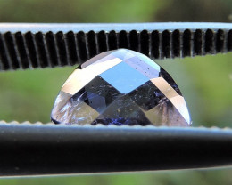 0.55ct IOLITE BLUE PURPLE TRILLION CHECKERBOARD FACETED GEM FROM ZAMBIA