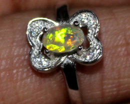 Natural Ethiopian Welo Fire Opal 925 Silver Adjustable Ring Size (5 US) 143