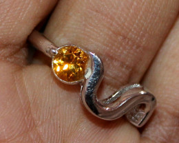 Natural Citrine 925 Sterling Silver Ring Size (7 US) 53
