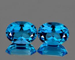 8x6 mm Oval 2 Pieces 2.48cts Swiss Blue Topaz [VVS]