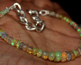 21 Crt Natural Ethiopian Welo Fire Opal Beads Bracelet 37