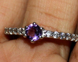 Natural Amethyst 925 Sterling Silver Ring Size (7.5 US) 31