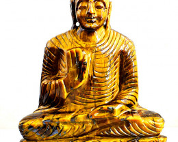Genuine 3555.00 Cts Golden Tiger Eye Lord Buddha