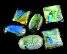 Genuine 195.00 Cts Blue & Green Flash Labradorite Gemstone Lot