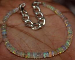 20 Crt Natural Ethiopian Welo Fire Opal Beads Bracelet 22