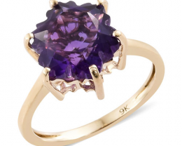 Stellaris Cut Amethyst 3.75ct. Ring Set in 9ct. Gold