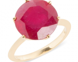 African Ruby 9.29ct. Ring in 9ct. Gold