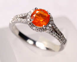 2.38g Mexican Orange Fire Opal 925 Sterling Silver Ring E2108