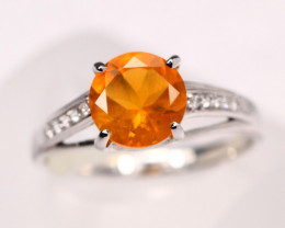 2.26g Mexican Orange Fire Opal 925 Sterling Silver Ring E2111