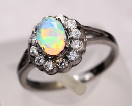 2.02g Faceted Rainbow Opal 925 Sterling Silver Ring E2114