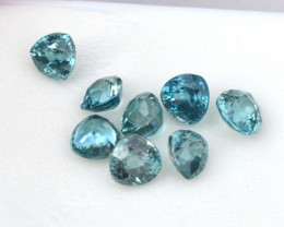 Zircons! 6.75 Carat Fine Matched Parcel of Bright Blue Zircons