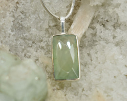 CERTIFIED  PENDANT 925 STERLING SILVER PREHNITE  NATURAL GEMSTONE JE1284