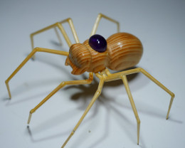 SPIDER CARVING INDONESIAN TEAK WOOD WITH BEAUTY AMETHYST CAB