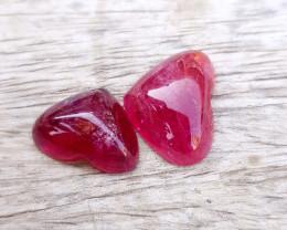11.25 Ct Natural Reddish Tourmaline Heart Shape Cabs Pairs