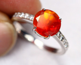 2.73g Natural Mexican Fire Opal 925 Sterling Silver Ring A2208