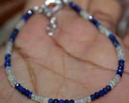 7 Crt Natural Ethiopian Welo Fire Opal & Lapis Lazuli Beads Bracelet 15