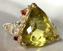 ⭐Stunning Garnet Lemon Quartz Handmade 14kt Gold over Sterling Silver Ring