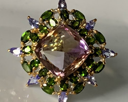 ⭐A Huge Cocktail Ring of Ametrine, Tanzanite and Chrome Diopside gems