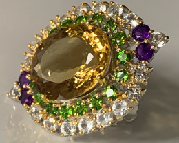 Amethyst Aquamarine Citrine Chrome Diopside Ring Size 10 Sterling Silver 14