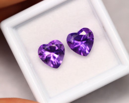 3.30cts Natural  Purple Heart Cut Amethyst Pair /02