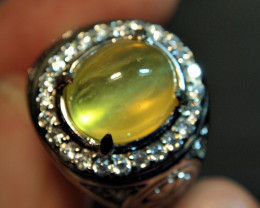 48.50CRT TRANSLUCENT CAT EYES YELLOW OPAL ZIRCONIA