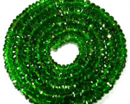 ~RARE~ 64.83 Cts Natural Chrome Diopside Beads - 48 cm - 4.4 x 3.2 mm