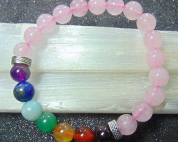 Beautiful beads  Bracelet  rose Quartz and mix colors stones 96.70 cts