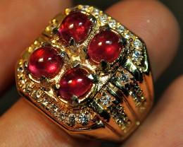 88.70CRT PAIR TRANSLUCENT REDISH PINK RUBY CUSTEM RING SIZE 17