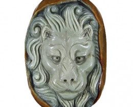 Serious Lion Carving - Focal Pendant worked in Jasper - drilled to become a