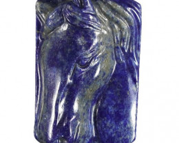 Majestic Horse Carved Cameo Focal Pendant Stone in Lapis Lazuli 150.00cts
