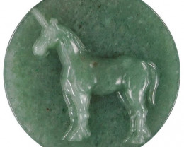 Large Unicorn Carved Cameo Focal Pendant Stone in Aventurine 210.00cts
