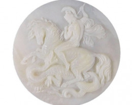 Mother of Pearl George and Dragon Carved Cameo Shell 40ct Detailed