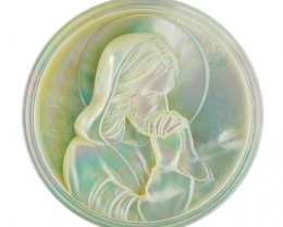 Mother of Pearl Jesus Carved Cameo Shell with Rainbows Cabochon 25ct