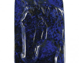 Noble Horse Carved Cameo Focal Pendant Stone in Lapis Lazuli 220.00cts