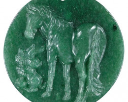 Large Horse Carved Cameo Focal Pendant Stone in Aventurine 195.00cts