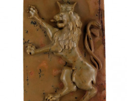 Classic Lion Carved Cameo Focal Pendant Stone in Ribbon Jasper 130cts