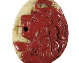 160.00ct Red River Jasper Carved Cameo Focal Pendant Stone of a Lion
