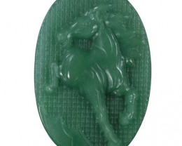 Large Horse Carved Cameo Focal Pendant Stone in Aventurine 155.00cts