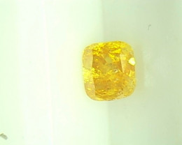 0.31cts Fancy Vivid orangy Yellow Diamond  , 100% Natural Untreated