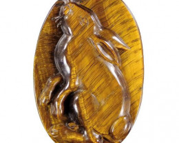 Fine grade Chatoyant Tiger's eye Rabbit Carving Focal bead - large 150.00ct