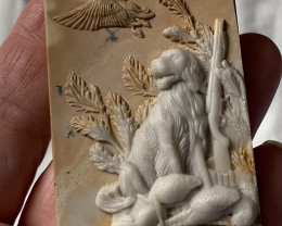 Hound dog ~ Carved Cameo Focal Pendant Stone in Ribbon Jasper 210cts