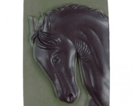 Wonderful Horse Carved Cameo Focal Pendant Stone in Ribbon Jasper 165.00cts